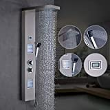 OBEEONR Thermostat Duschpaneel Duschset aus Edelstahl, Duschsystem mit handbrause und Regendusche Duscharmatur mit LED Wassertemperaturanzeige