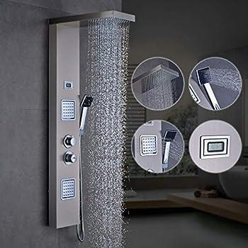 Zoternen Doccia a Pioggia in Acciaio Inox Pannello Doccia con LCD Display Nero 5 in 1 Colonna Doccia Termostatica con Getti Idromassaggio Funzioni da Massaggi Risparmio idrico del 30/%