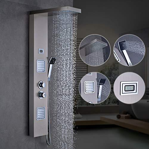 Pannello doccia idromassaggio con miscelatore termostatico,display lcd della temperatura dell'acqua,colonna doccia in acciaio inox con soffione rettangolare