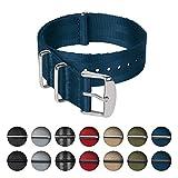 Archer Watch Straps | Bracelet de sécurité tissé en nylon, qualité supérieure NATO | Bracelet de montre robuste de style militaire | Bleu Marine / Pièces en acier inoxydable, 18mm