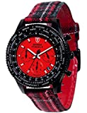 DETOMASO Herrenuhr Quarz Edelstahlgehäuse Textilarmband Mineralglas FIRENZE STYLE Chronograph Trend rot/mehrfarbig DT1071-A
