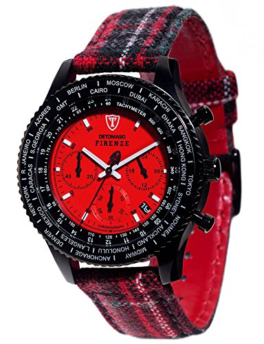 Detomaso Firenze Style Chronograph Men's Quartz Watch with Red Dial Analogue Display and Multicolour Fabric and Canvas Bracelet DT1071-A