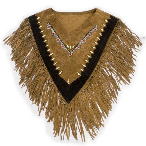 Cuoio Western Collar Poncho Cassy con frange in pelle scamosciata marrone riccamente decorato taglia unica