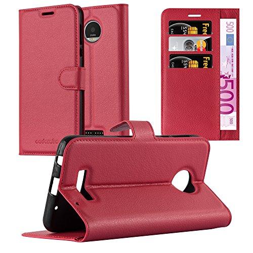Cadorabo Hülle für Motorola Moto Z Play - Hülle in Karmin ROT – Handyhülle mit Kartenfach und Standfunktion - Case Cover Schutzhülle Etui Tasche Book Klapp Style