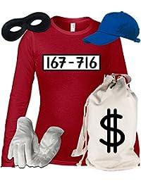 Deluxe Kostüm für Panzerknacker Fans Karneval Damen Langarm T-Shirt+Geldsack+Cap+Handschuhe+Maske