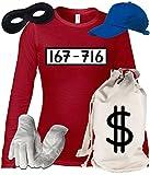 Deluxe Kostüm für Panzerknacker Fans Karneval Damen Langarm T-Shirt+Geld Sack+Cap+Handschuhe+Maske, Größe: XXL,Rot