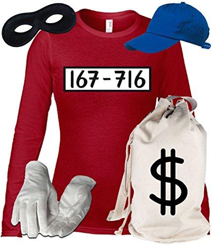 Deluxe Kostüm für Panzerknacker Fans Karneval Damen Langarm T-Shirt+Geld Sack+Cap+Handschuhe+Maske, Größe: L,Rot (Armee-mama T-shirt Langarm)