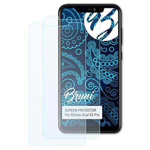 Bruni Schutzfolie kompatibel mit Allview Soul X5 Pro Folie, glasklare Bildschirmschutzfolie (2X)