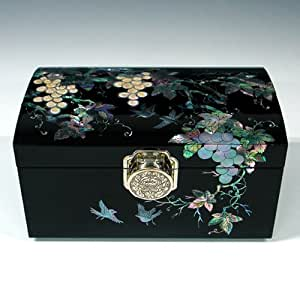 Mother of Pearl Grape Design Lacquered Black Luxury Wooden Asian Mirrored Jewellery Trinket Keepsake Treasure Box Ring Case Chest Organizer