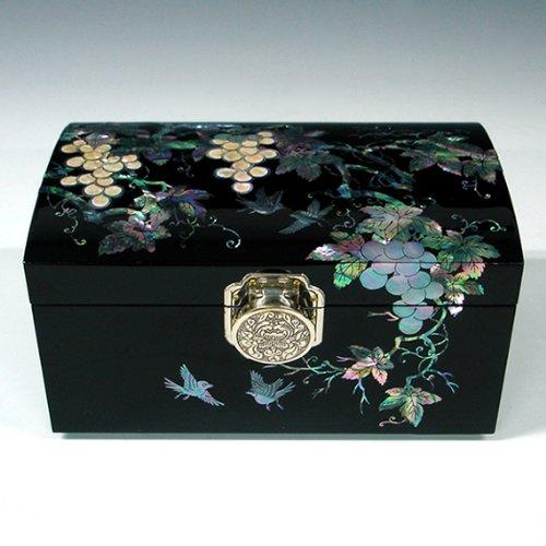 Mother of Pearl Raisin noir laqué Bois Luxe BIJOUX ASIATIQUE-Keepsake-Boîte à Bijoux Coffre Trésor avec étui de rangement