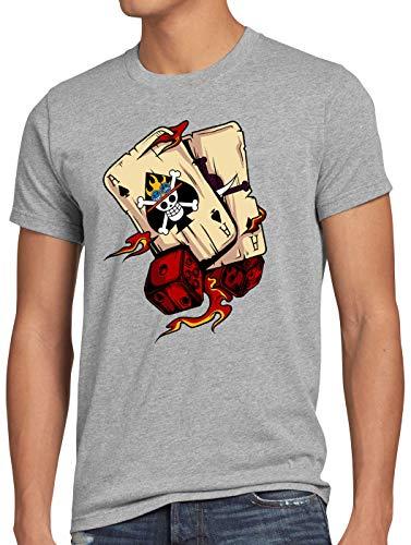 n T-Shirt Poker Piece Strohhut Bande Anime Manga, Größe:M, Farbe:Grau meliert ()