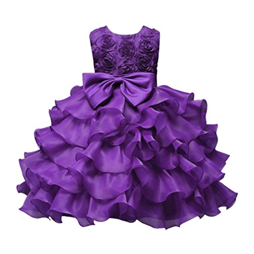 mer, Dasongff Mädchen Prinzessin Kleid Brautjungfern Kleider Geburtstag Hochzeit Festlich Abendkleid Festzug Party Kleider Prinzessin Ballkleid Babykleidung (80-12M, Lila) (Hochzeits-blumen-mädchen-kleider)