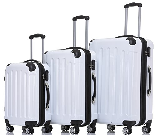 BEIBYE Zwillingsrollen 2048 Hartschale Trolley Koffer Reisekoffer Taschen Gepäck in M-L-XL-Set (Weiß, Set)