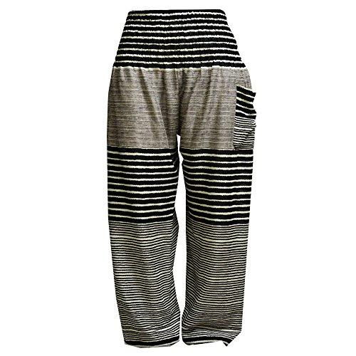 Mr.Bangkok Donna Smocked Waist Boho Harem Pantaloni Black & White