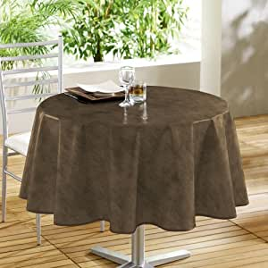 Izaneo - Nappe ronde beton cire cacao - Taille D 160 cm