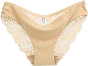 Oliviavan Dessous,Frauen Spitzenhöschen Nahtlose Baumwolle Panty Hohl Briefs Unterwäsche Einfarbige Unterwäsche Spitze Unterwäsche Bequem Hosen