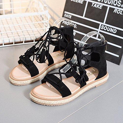 Y-BOA Bohême Sandales Spartiates Lacets Vintage Nu-Pieds Chaussure Léger Plat Plage Voyage Été Noir