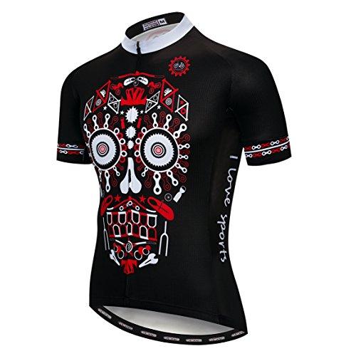 Radfahren Jersey Männer Fahrrad Jersey Fahrrad Sport Top Breathable Team Mountain Road MTB Trikot Kurzarm Sommer Racing Shirts Schädel Rot Schwarz Größe L