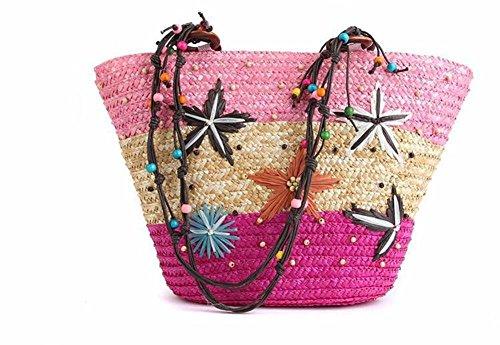 Gewebte Stroh-Strand-Beutel-Seelsorten-Strand-Blumen-Stroh-Tote-Korb-Beutel-Schulter-Handtasche , pink (Korb Tote Handtasche)