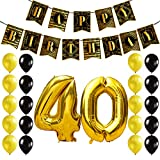 KUNGYO 40 Anni Decorazioni Compleanno per Feste - Buon Compleanno Ruggenti Anni '20 Articoli Oro Nero Striscione Happy Birthday Banner Palloncini di Lattice Numero 40 Alluminio Mylar Palloncini Nastri