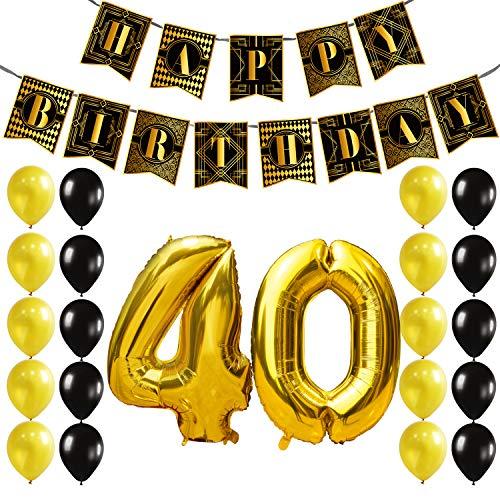 KUNGYO Decoracion Cumpleaños 40 Años Decoraciones Suministros para Fiestas Happy Birthday Banner Pancartas Guirnalda, Oro Negro Feliz Cumpleaños Globos de Aluminio Número 40 Década de 1920s Gatsby