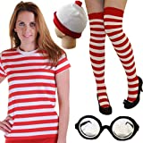 Islander Fashions Ladies Reddy White Striped Nerdy Disfraz Womens Book Week Day Costume Accesorio Peque�o / Mediano