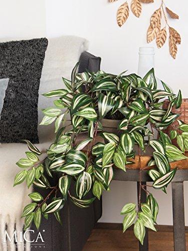 Mica decorations 976674 Tradescantia Haengend L45B25H25 gruen in Topf Stan D11.5 grau Kunstpflanze, Polyester, 45 x 25 x 52 cm - 2