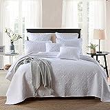 Unimall 4394089 Tagesdecke Baumwolle Bettüberwurf Set gesteppt mit Weiß Blumen für Doppelbett 250x270 cm