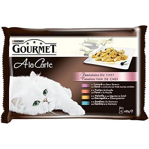 Gourmet à la Carte Repas pour chat adulte Fantaisies du Chef 4 x 85 g - Lot de 12 (48 sachets