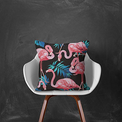 MaxG Home Decor Cotton Linen Summer Tropical Pink Flamingoes Birds Palm Leaves Flowers Plants Square Throw Pillow Cases Cushion Covers For Sofa Bed 18X18 inches