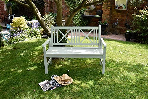 Wooden Garden Bench 2 Seater Solid Wood Sage Green Outdoor Seat Traditional Furniture