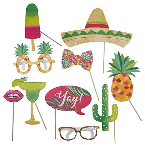 Summer Tropical Fotorequisiten Set, 10 teilig, Mehrfarbig (Halloween-kostüme Einfach Zu Hause Zu Machen)