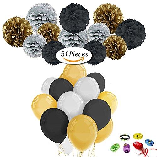 51pcs Party Dekor Kit, 9 Papier Pom Poms, 36 Latex Luftballons, 6 Rollenband, für Hochzeit, Geburtstag, Baby, Braut Dusche, erste Geburtstag Dekor Party Dekorationen (Schwarzes Gold Silber)