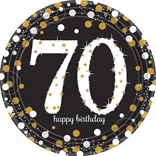 8 Teller * 70 - Happy Birthday * in Gold-Silber-Schwarz zum 70. Geburtstag | Glitzer Tischgeschirr zum siebzigsten Geburtstag oder Jubiläum | siebzig Jahre Pappteller Partyteller Set schwarz glitzer (Geburtstag Teller 70.)