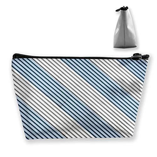 White and Blue Stripe Optical Women Makeup Bags Multifunktions-Kulturbeutel Organizer Travel Wash Lagerung (Trapez) - Blue Womens Grafik