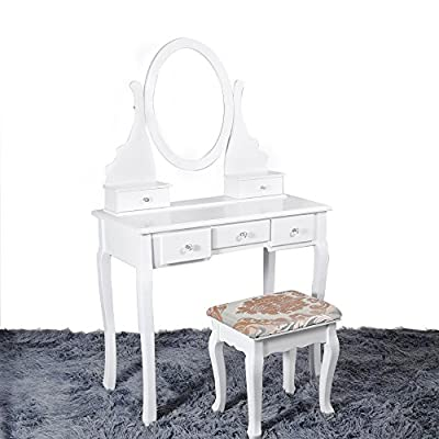 White Dressing Table Makeup Desk with Stool, 5 Drawers and Oval Mirror Bedroom (White, MDF+pine) - low-cost UK light store.