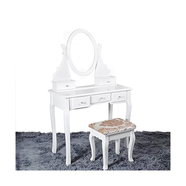 White Dressing Table Makeup Desk With Stool 5 Drawers And Oval