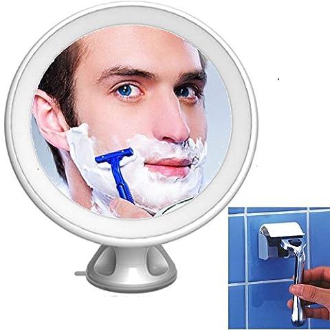 Sans brouillard Miroir de rasage 5x Loupe LED Lumineux de rasage pour rasoir rotatif à 360° Maquillage Miroir cosmétique mural Meuble/sans