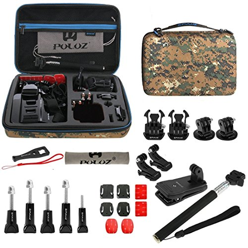 PULUZ 29 in 1 Accessories Combo Kit with Camouflage EVA Case (Chest Strap + Head Strap + Wrist Strap + Floating Cover + Surface Mounts + Backpack Rec-mount + J-Hook Buckles + Extendable Monopod + Tripod Adapter + Quick Release Buckles + Storage Bag + Wren