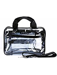 Kemier 3 In 1 Clear Makeup Bags Vinyl Zippered PVC Cosmetic/ Toiletry/ Storage Travel Bags/Train Case With Detachable...
