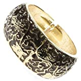 Antique Gold and Brown Floral Enamel Bold Snap Cuff Bangle Bracelet Arm Wristband