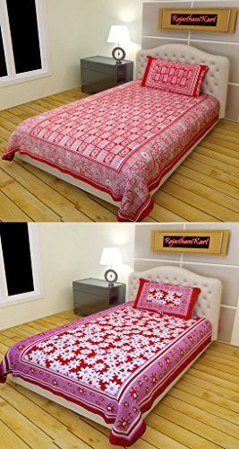 RajasthaniKart 100% Cotton Single Traditional Bedsheet Combo (2 Bedsheet, 2 Pillow Cover)  available at amazon for Rs.479