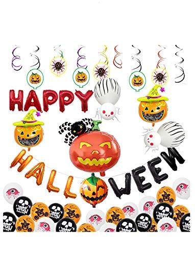Folie Aluminium Kostüm - YYRZGW Halloween Aluminium Folie Luftballons K Kürbis Geist Skelett Luftballons Aufblasbar Spielzeuge Zum Halloween Party Lieferungen-A