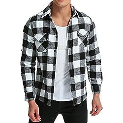 MODCHOK Hombre Camisa a Cuadros Casual de Franela Manga Larga Shirt Algod¨®n Slim Fit?Blanco Negro M