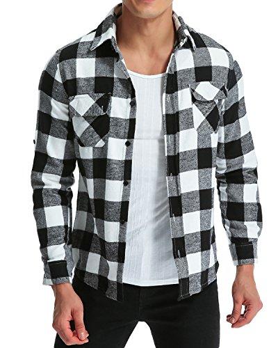 MODCHOK Herren Freizeithemd Langarm Shirt Flanellhemd Karierte Karo-Hemd Oberteile Trachtenhemd Slim Fit Schwarzweiß M
