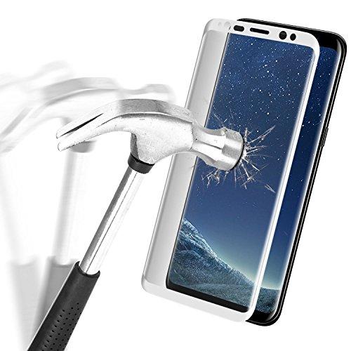 Samsung Galaxy S8 Protector de Pantalla, Danibos 3D Cubierta Completa Película Protectora de Vidrio de Protección Ultravioleta Película de Vidrio Blindado Película Curvada Protector de Glass Screen Protector (Blanco)