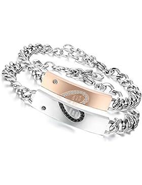 Flongo 2 PCS With Wish Love and Happiness Herz Edelstahl Armband Link Handgelenk Zirkonia Zirkon Silber Schwarz...