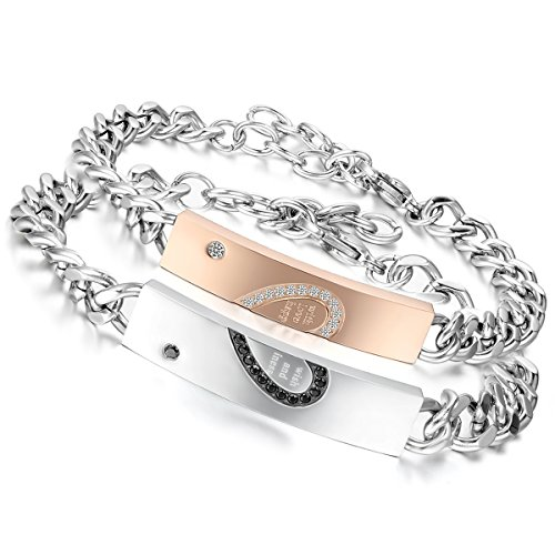 *Flongo 2 PCS With Wish Love and Happiness Herz Edelstahl Armband Link Handgelenk Zirkonia Zirkon Silber Schwarz Rose Gold Panzerkette Kette Herren,Damen*