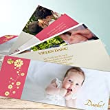 Danksagung Taufe, Täufling 200 Karten, Kartenfächer 210x80 inkl. weiße Umschläge, Rot