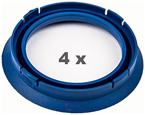 4 x Zentrierringe 74.1 mm auf 57.1 mm blau/blue